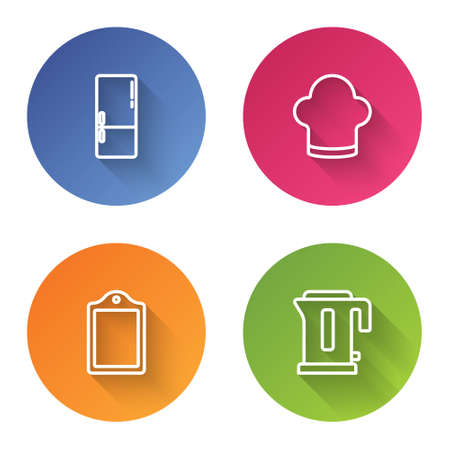 Set line Refrigerator, Chef hat, Cutting board and Electric kettle. Color circle button. Vector