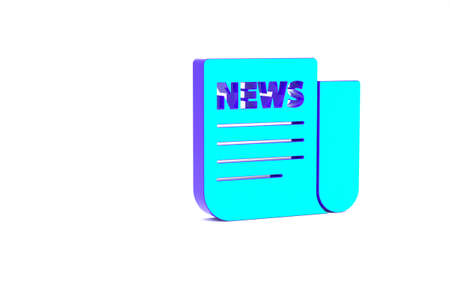 Turquoise News icon isolated on white background. Newspaper sign. Mass media symbol. Minimalism concept. 3d illustration 3D render Banque d'images