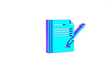 Turquoise Blank notebook and pen icon isolated on white background. Paper and pen. Minimalism concept. 3d illustration 3D render Zdjęcie Seryjne