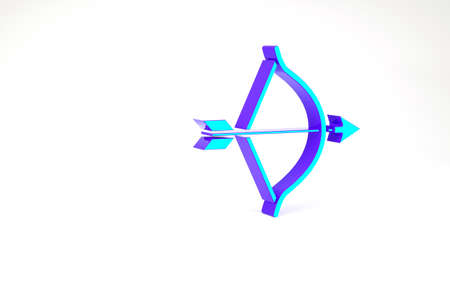 Turquoise Bow and arrow icon isolated on white background. Cupid symbol. Love sign. Valentines day concept. Minimalism concept. 3d illustration 3D render Zdjęcie Seryjne