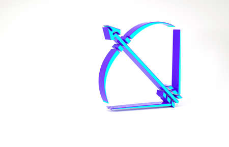 Turquoise Bow and arrow in quiver icon isolated on white background. Minimalism concept. 3d illustration 3D render