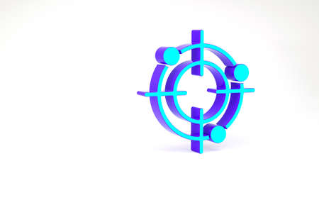 Turquoise Target sport for shooting competition icon isolated on white background. Clean target with numbers for shooting range or pistol shooting. Minimalism concept. 3d illustration 3D render Zdjęcie Seryjne