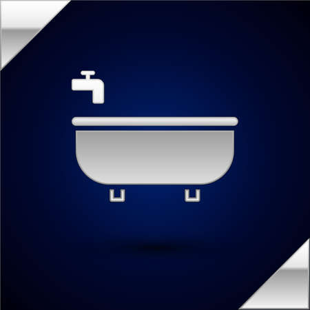Silver Bathtub icon isolated on dark blue background. Vector Illustration