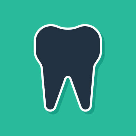 Blue Tooth icon isolated on green background. Tooth symbol for dentistry clinic or dentist medical center and toothpaste package. Vector Illustration Ilustracja