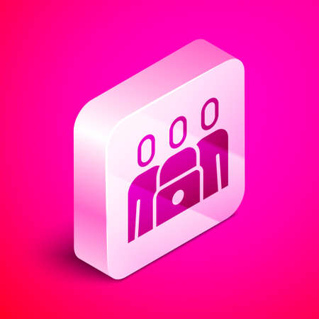 Isometric Online class icon isolated on pink background. Online education concept. Silver square button. Vector Illustration