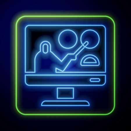 Glowing neon Online education and graduation icon isolated on blue background. Online teacher on monitor. Webinar and video seminar learning. Vector Illustration