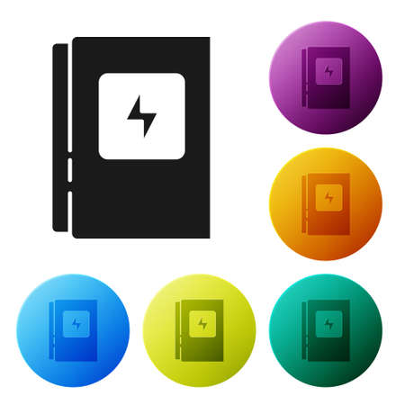 Black Electrical panel icon isolated on white background. Set icons in color circle buttons. Vector