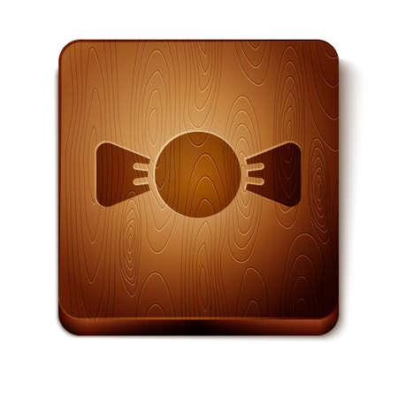 Brown Bow tie icon isolated on white background. Wooden square button. Vector