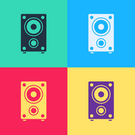 Pop art Stereo speaker icon isolated on color background. Sound system speakers. Music icon. Musical column speaker bass equipment. Vector 向量圖像