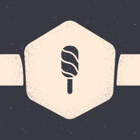 Grunge Ice cream icon isolated on grey background. Sweet symbol. Monochrome vintage drawing. Vector Vetores
