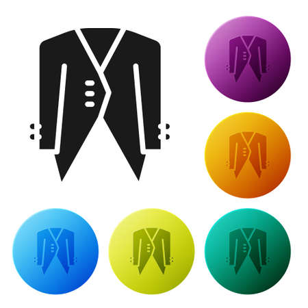 Black Suit icon isolated on white background. Tuxedo. Wedding suits with necktie. Set icons in color circle buttons. Vector Illusztráció