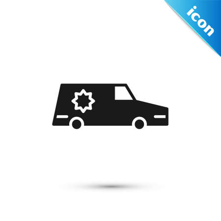 Grey Hearse car icon isolated on white background. Vector Ilustração