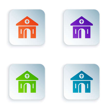 Color Church building icon isolated on white background. Christian Church. Religion of church. Set colorful icons in square buttons. Vector  イラスト・ベクター素材