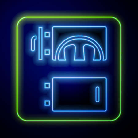 Glowing neon Crematorium icon isolated on blue background. Vector