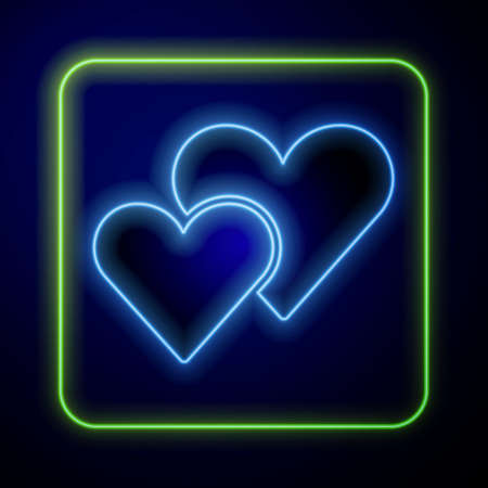 Glowing neon Heart icon isolated on blue background. Romantic symbol linked, join, passion and wedding. Valentine day symbol. Vector