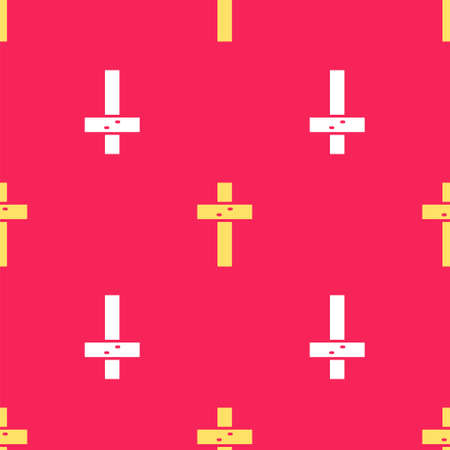 Yellow Christian cross icon isolated seamless pattern on red background. Church cross. Vector