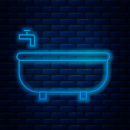 Glowing neon line Bathtub icon isolated on brick wall background. Vector Illustration
