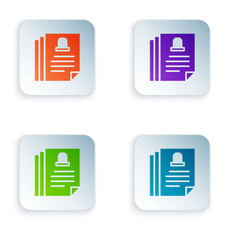 Color Death certificate icon isolated on white background. Set colorful icons in square buttons. Vector