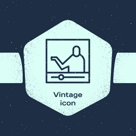 Grunge line Online education and graduation icon isolated on blue background. Online teacher on monitor. Webinar and video seminar learning. Monochrome vintage drawing. Vector Illustration