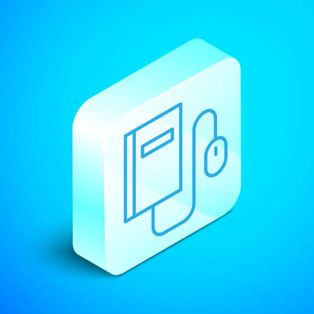 Isometric line Electronic book with mouse icon isolated on blue background. Online education concept. E-book badge icon. Silver square button. Vector Illustration