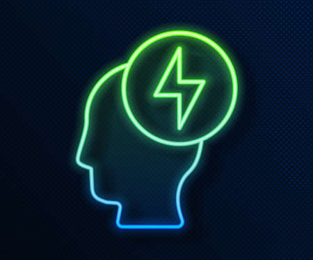 Glowing neon line Human head and electric symbol icon isolated on blue background. Vector