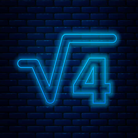 Glowing neon line Square root of 4 glyph icon isolated on brick wall background. Mathematical expression. Vector