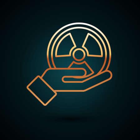 Gold line Radioactive in hand icon isolated on dark blue background. Radioactive toxic symbol. Radiation Hazard sign. Vector