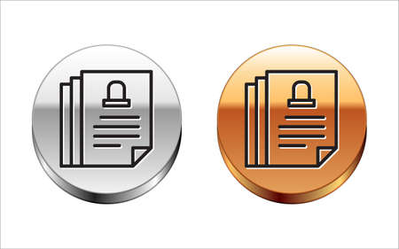 Black line Death certificate icon isolated on white background. Silver-gold circle button. Vector