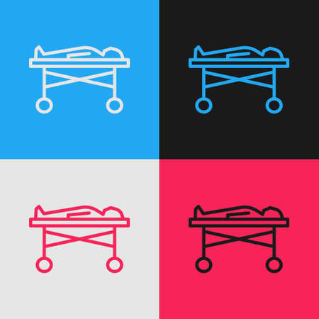 Pop art line Dead body in the morgue icon isolated on color background. Vector Ilustração