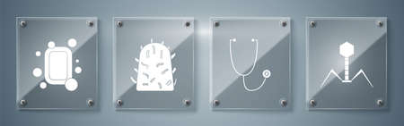 Set Bacteria bacteriophage, Stethoscope, Rabies virus and Bar of soap. Square glass panels. Vector