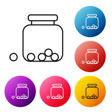 Black line Glass jar with candies inside icon isolated on white background. Set icons colorful circle buttons. Vector Stock Illustratie