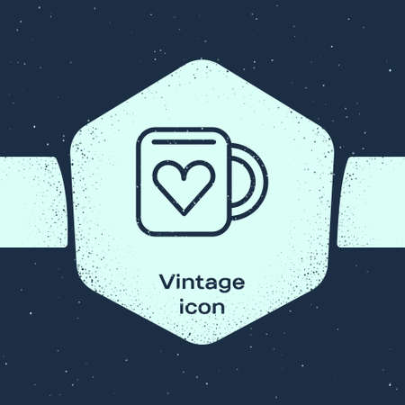 Grunge line Coffee cup and heart icon isolated on blue background. Couple coffee for lovers on Valentines Day. Monochrome vintage drawing. Vector