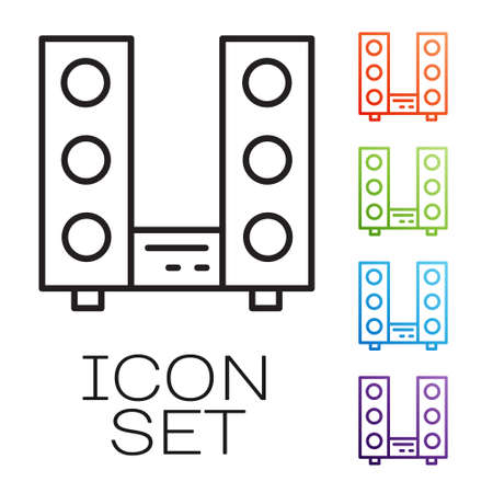Black line Home stereo with two speaker s icon isolated on white background. Music system. Set icons colorful. Vector Stock Illustratie