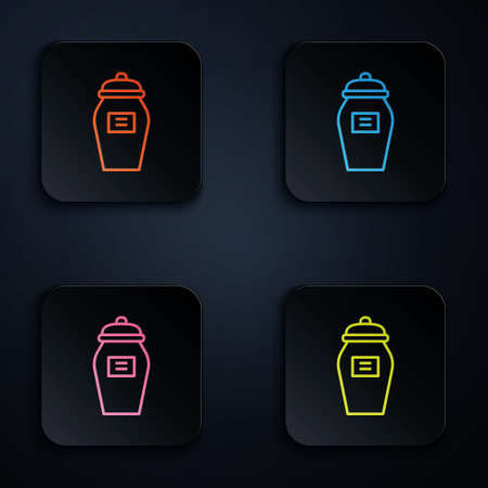 Color neon line Funeral urn icon isolated on black background. Cremation and burial containers, columbarium vases, jars and pots with ashes. Set icons in square buttons. Vector