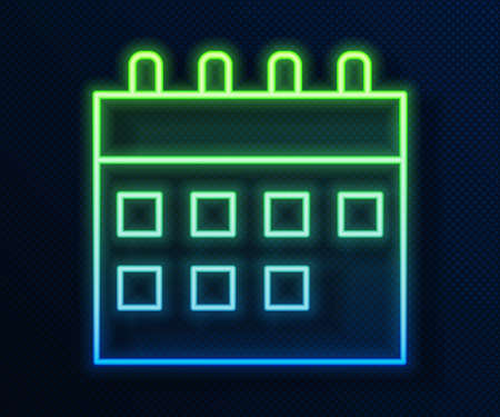 Glowing neon line Calendar icon isolated on blue background. Event reminder symbol. Vector