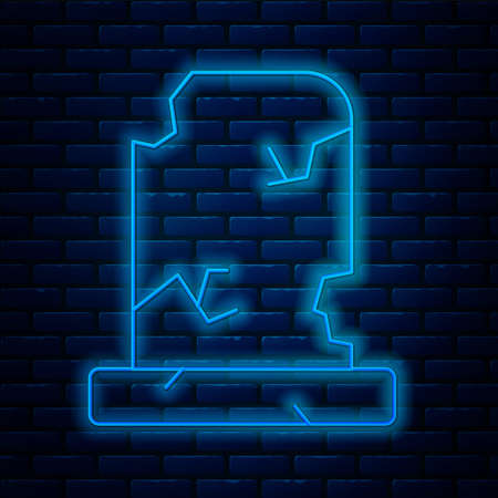 Glowing neon line Old grave with tombstone icon isolated on brick wall background. Vector Stock Illustratie