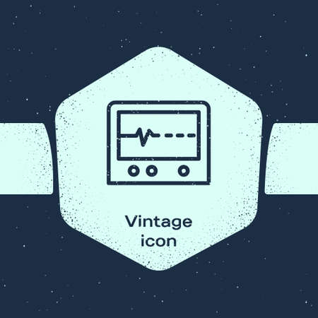 Grunge line Beat dead in monitor icon isolated on blue background. ECG showing death. Monochrome vintage drawing. Vector