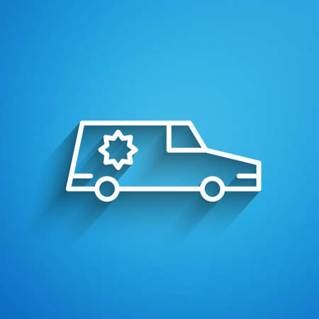 White line Hearse car icon isolated on blue background. Long shadow. Vector