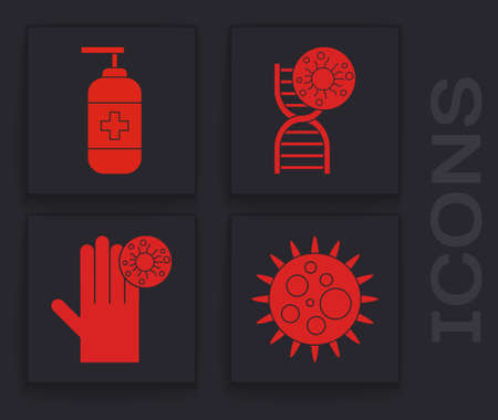 Set Virus, Bottle of liquid antibacterial soap, DNA symbol and virus and Hand with virus icon. Vector Ilustracja