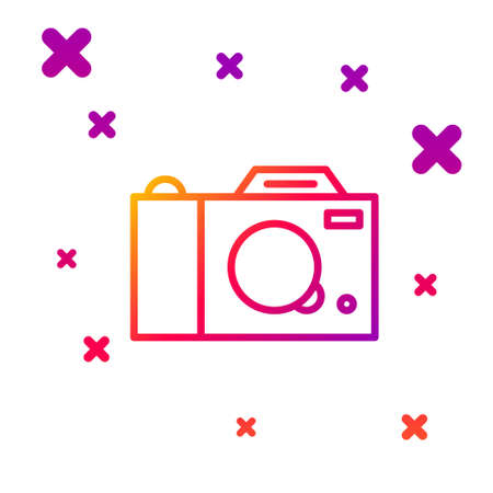 Color line Photo camera icon isolated on white background. Foto camera icon. Gradient random dynamic shapes. Vector