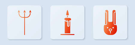 Set Burning candle in candlestick, Neptune Trident and Rabbit with ears. White square button. Vector Stock Illustratie