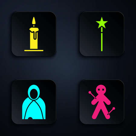 Set Voodoo doll, Burning candle in candlestick, Mantle, cloak, cape and Magic wand. Black square button. Vector