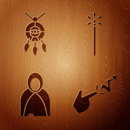 Set Spell, Dream catcher with feathers, Mantle, cloak, cape and Magic wand on wooden background. Vector Illustration
