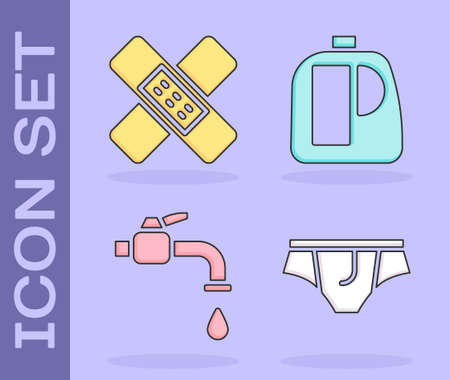 Set Underwear, Crossed bandage plaster, Water tap and Bottles for cleaning agent icon. Vector Stock Illustratie