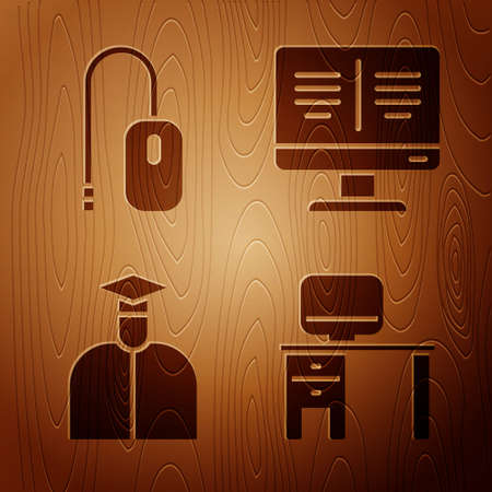 Set Computer monitor and desk, Computer mouse, Student and Online book on monitor on wooden background. Vector