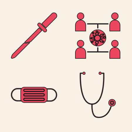 Set Stethoscope, Pipette, Virus spread and Medical protective mask icon. Vector