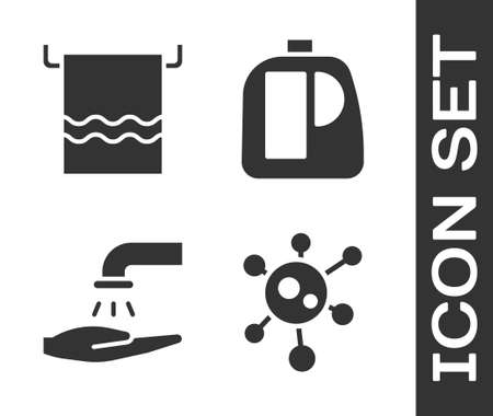 Set Virus, Towel on a hanger, Washing hands with soap and Bottles for cleaning agent icon. Vector