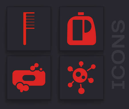 Set Virus, Hairbrush, Bottles for cleaning agent and Bar of soap icon. Vector