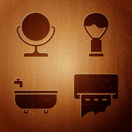 Set Paper towel dispenser on wall, Round makeup mirror, Bathtub and Shaving brush on wooden background. Vector