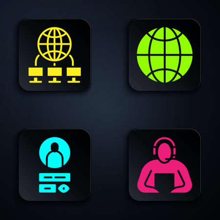 Set Student, Computer network, Create account screen and Social network. Black square button. Vector Stock Illustratie